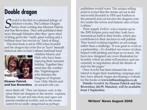 Writers' News picks up on Scordril August 2008